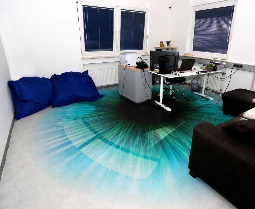 Büroboden bedrucken Auge Iris