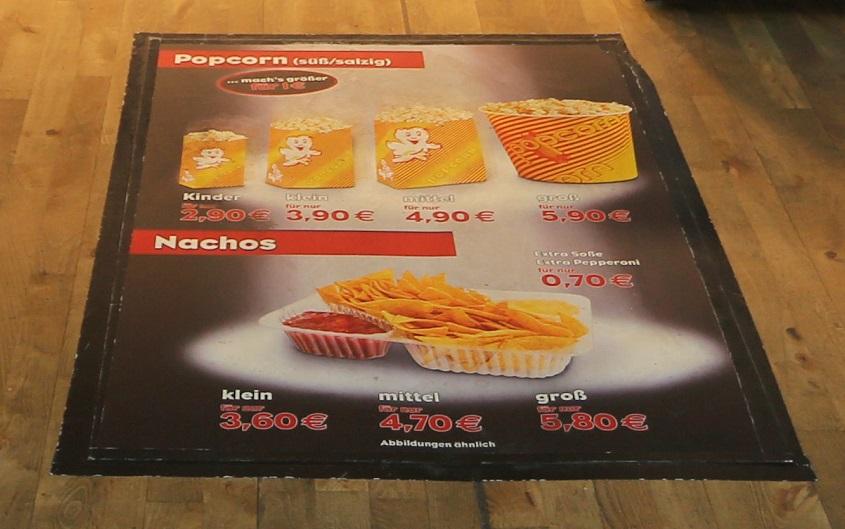 Popcorn Werbung Bodenwerbung