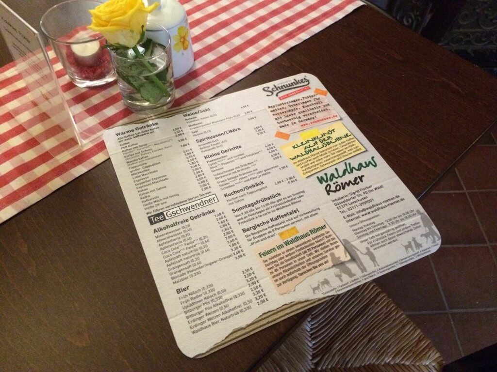 Speisekarte aus Vinyl als Tischunterlage