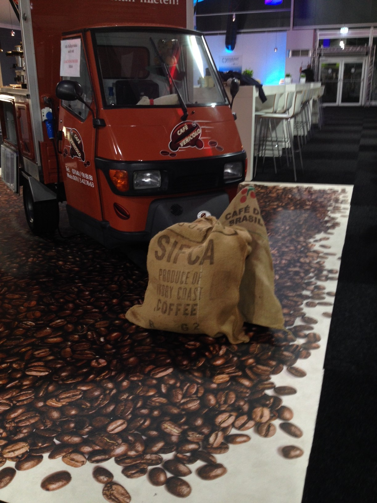 Kaffeewagen Teppich bedrucken