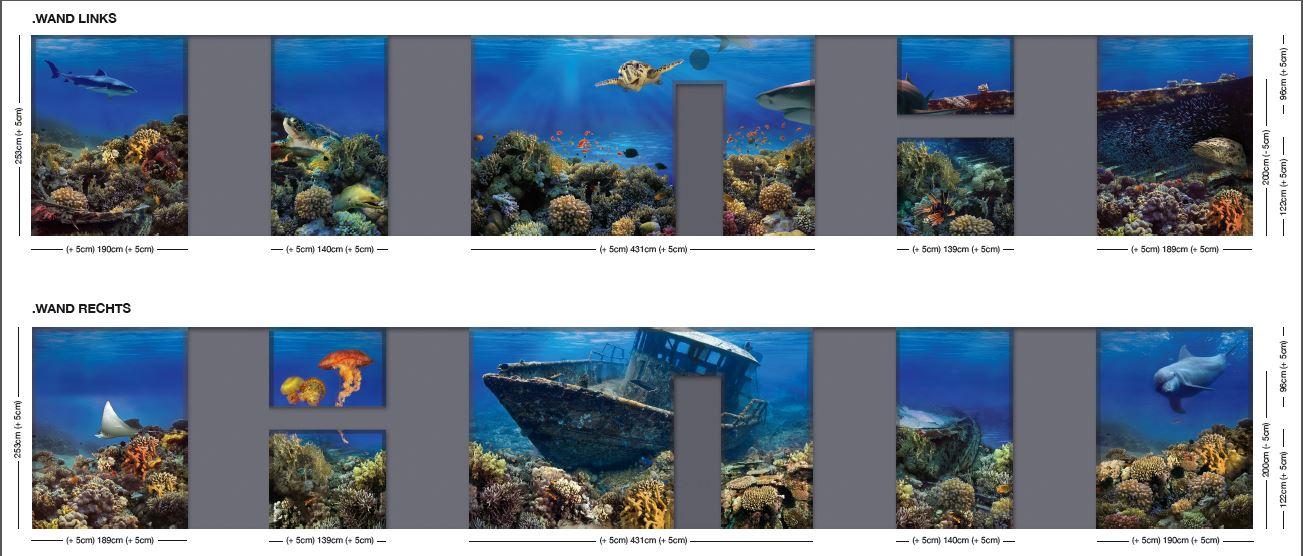 Fototapete Unterwasserwelt : Gesamtansicht der beiden W?nde. Die grauen Fl?chen markieren die