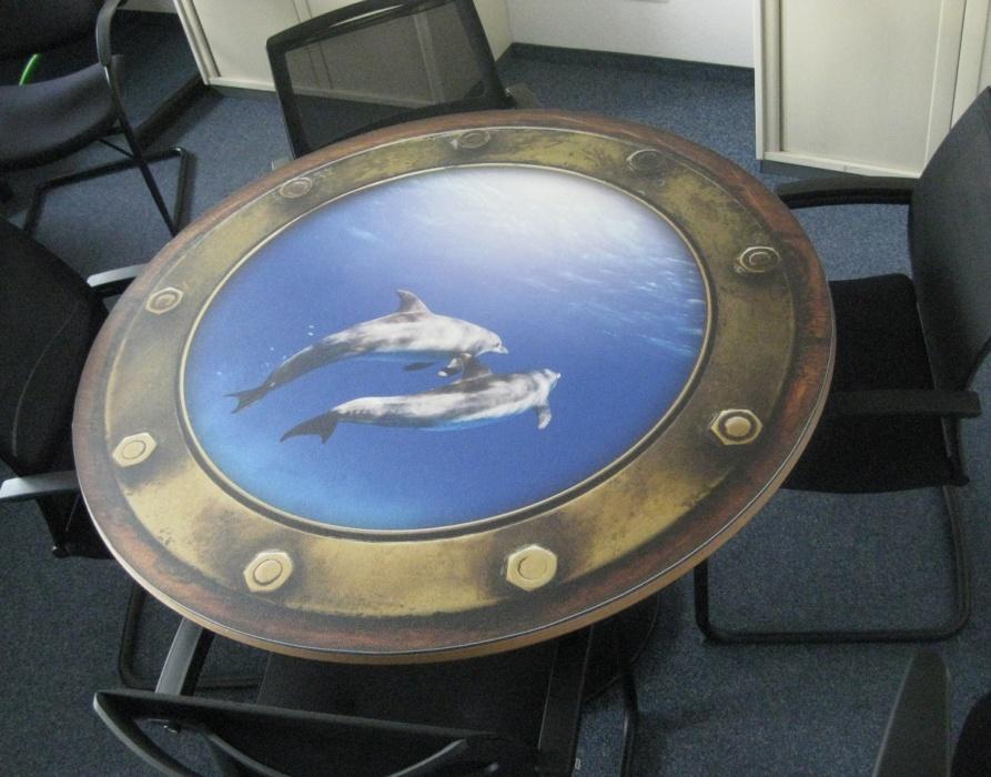Bullauge Tisch Interior Design Vinyl