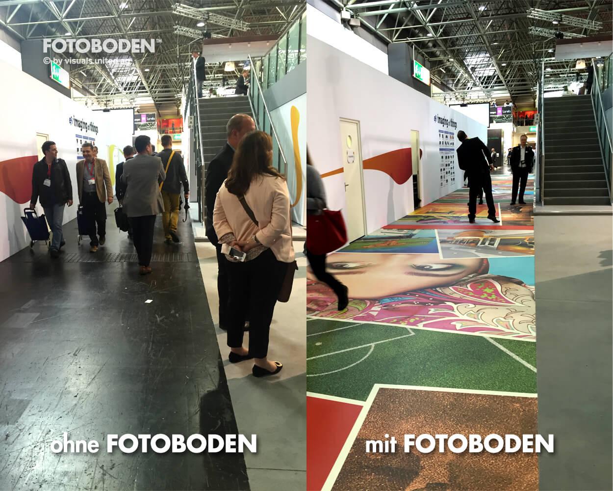 Vorhernachher FOTOBODEN™ Messeboden Tradeshow