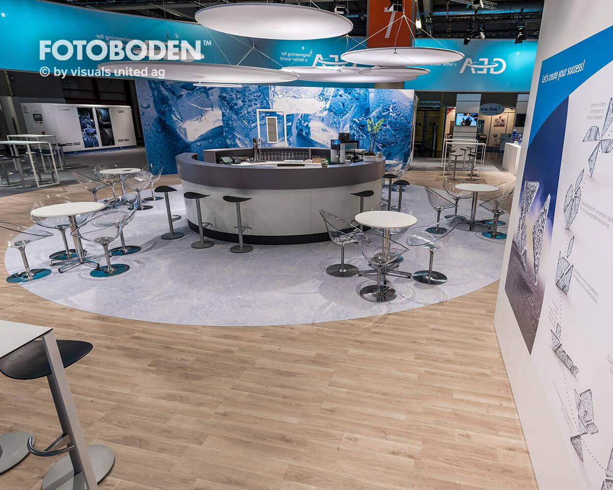 Fotoboden Messeboden Designfußboden Gastronomie