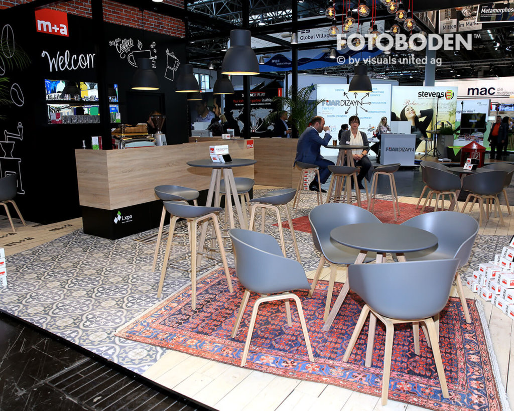 Need A Break From All The Trade Fair Stress? M+a Has A Stand Laid Out Like Coffeehouse