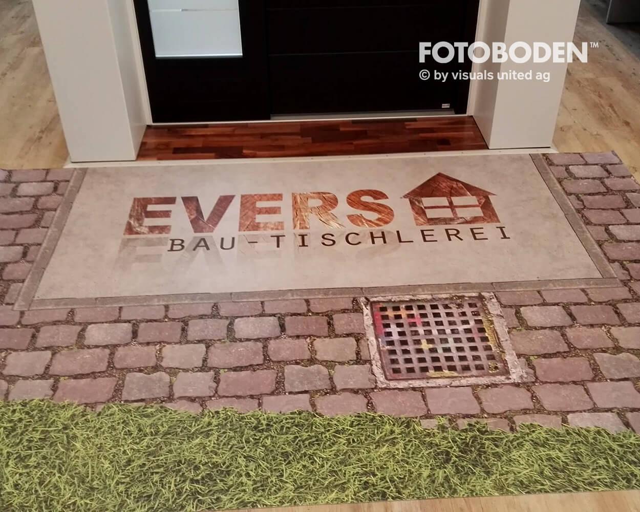 Evers1 Fotoboden Flooring Fußboden Bodengestaltung Floorminder Bodendruck Werbung Fußbodenwerbung Bodenwerbung Merchandising Advertising Visualmerchandising