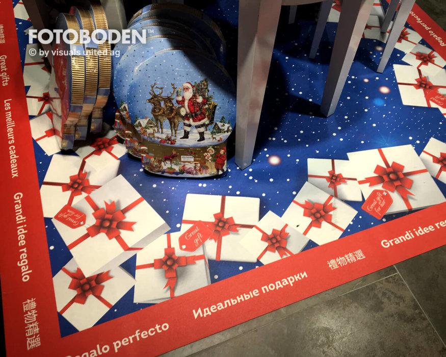 Weihnachten Ladengestaltung Fußboden Verkaufsfläche