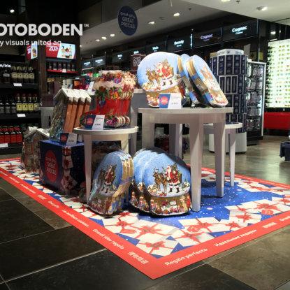 Weihnachten Ladenbau Ladengestaltung Fußboden Verkaufsfläche