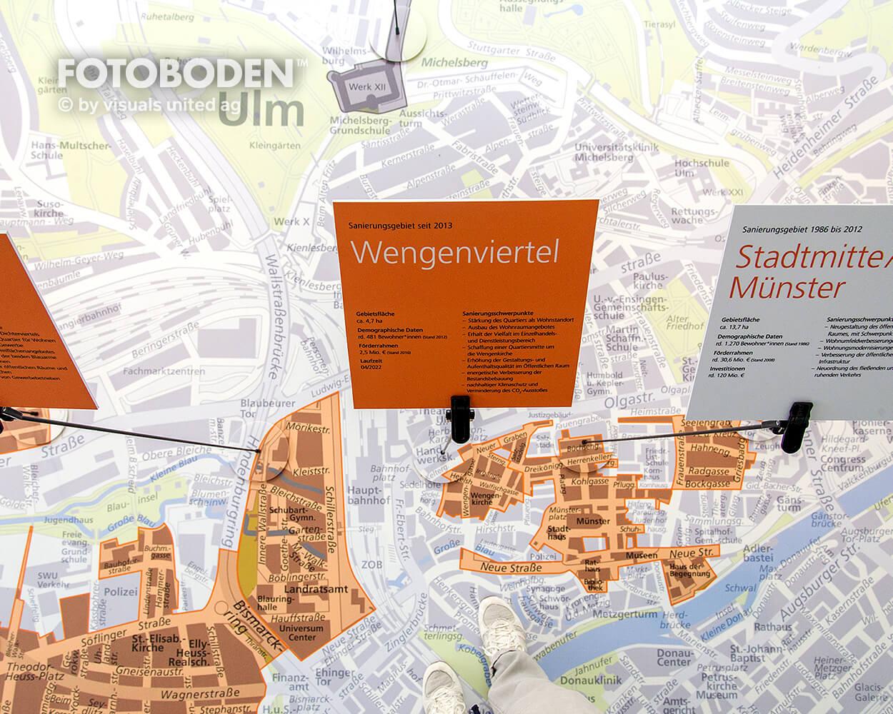 Sparkasse Ulm Ausstellung Museum  Raumkonzept Stimmung Museumsboden Ausstellungsboden Fotoboden Vinylboden Flooring Individuell Event3