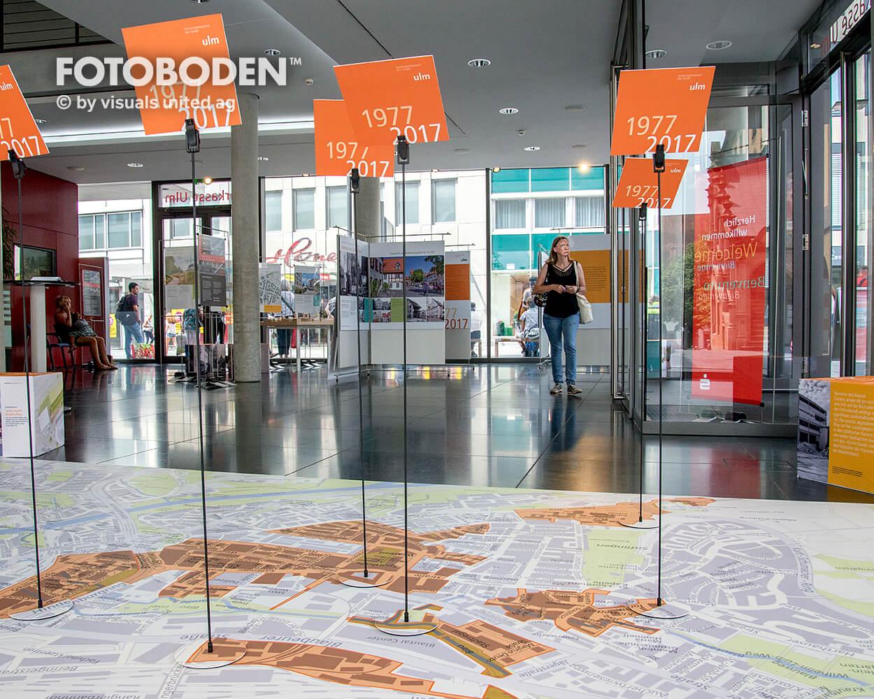 Sparkasse Ulm Ausstellung Museum  Raumkonzept Stimmung Museumsboden Ausstellungsboden Fotoboden Vinylboden Flooring Individuell Event5