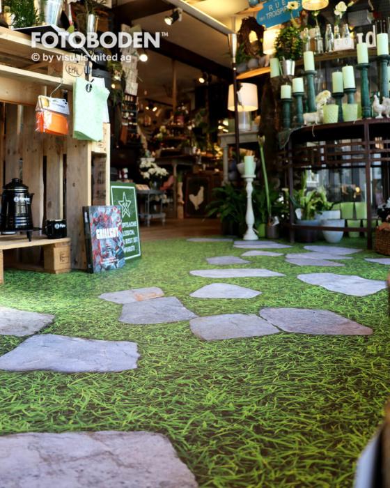Ladengestaltung Schaufensterdekoration Bodendesign Motivboden