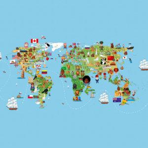 Vinylboden Designboden Weltkarte Kinder
