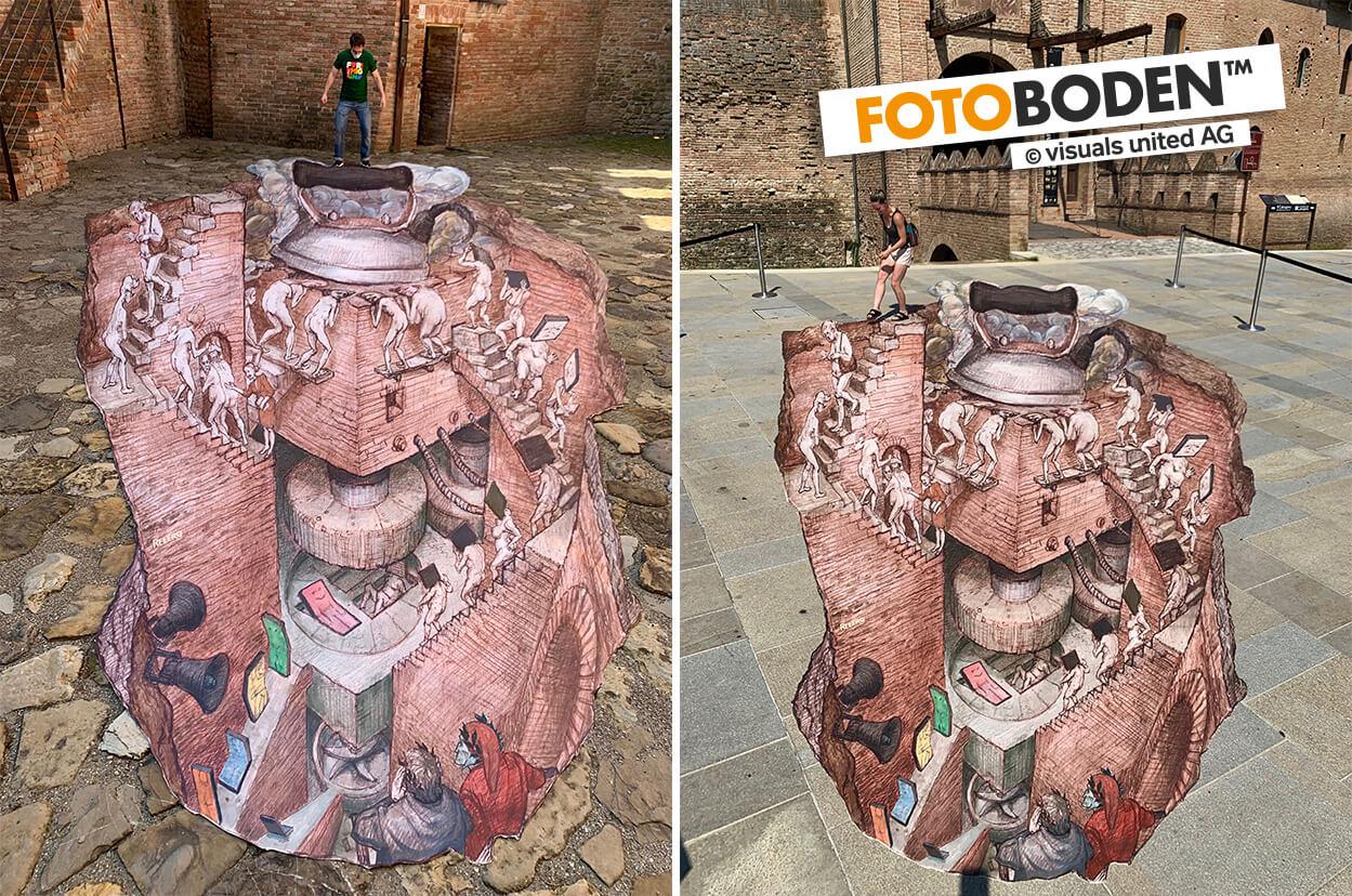 3D Streetart Gemälde auf FOTOBODEN™ gedruckt.