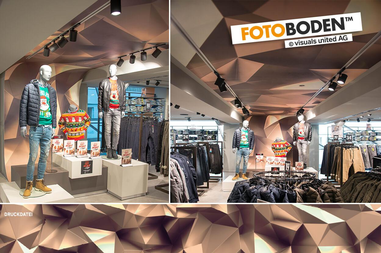 FOTOBODEN™ POS und Visual-Merchandising Fläche von Boden über Wand bis Decke. New York und Freiheitsstatue.