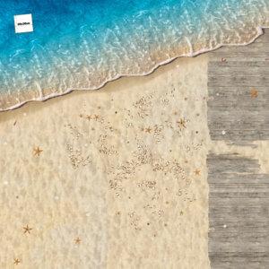 FOTOBODEN™ Strand mit Muscheln und Steg, Draufsicht, Bodenfläche, fotorealistisch