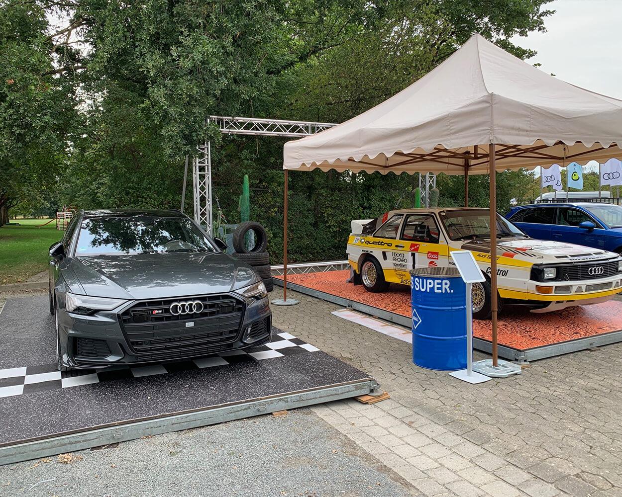 Bodengestaltung Steinoptik Fahrzeugpräsentation
