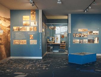 Individuell bedruckter FOTOBODEN™ temporär im Museum als Ausstellungsboden mit Landkarte bedruckt