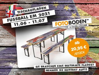 Tischauflagen für Bierzeltgarnituren. Individuell bedruckt mit Länderflaggen im Vintagestyle für die Europameisterschaft 2020/21