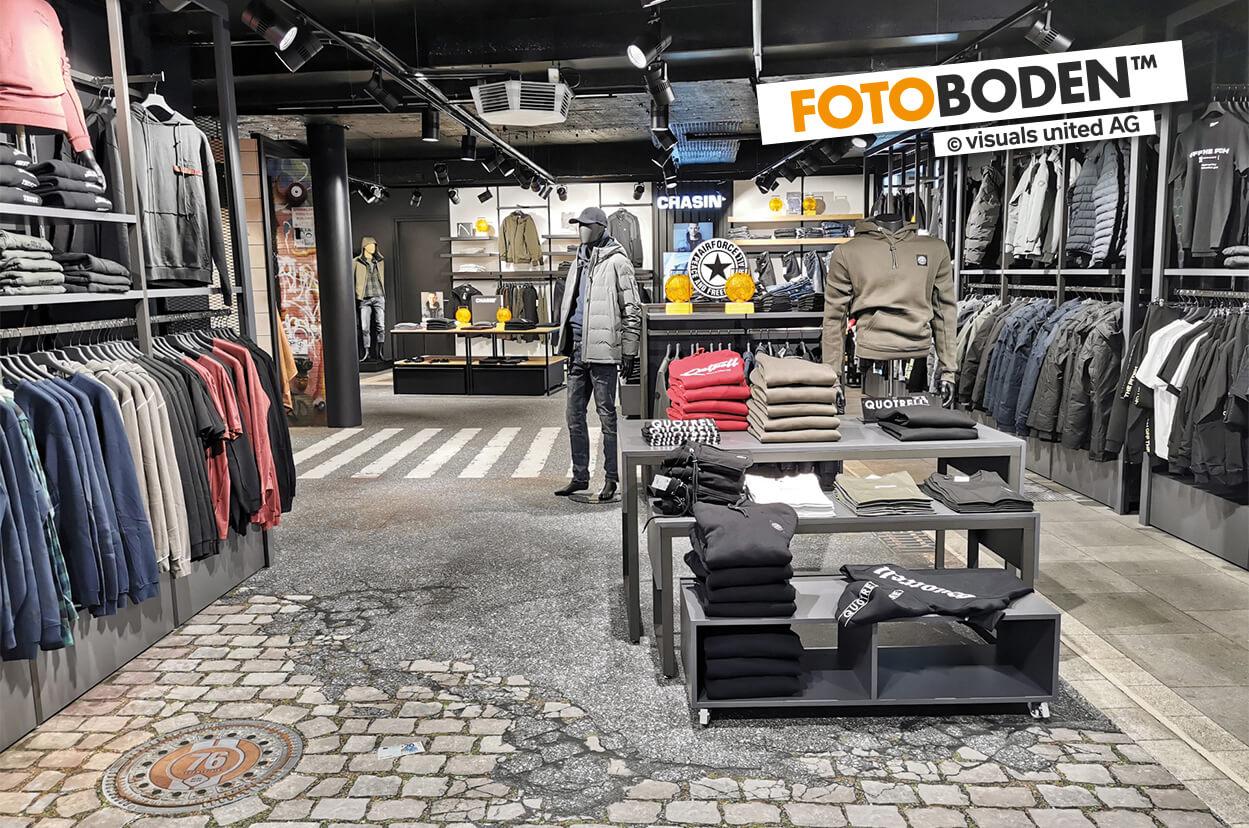 Shop-Gestaltung im New York City Style. Individuell Gestalteter FOTOBODEN™ in Objektqualität.