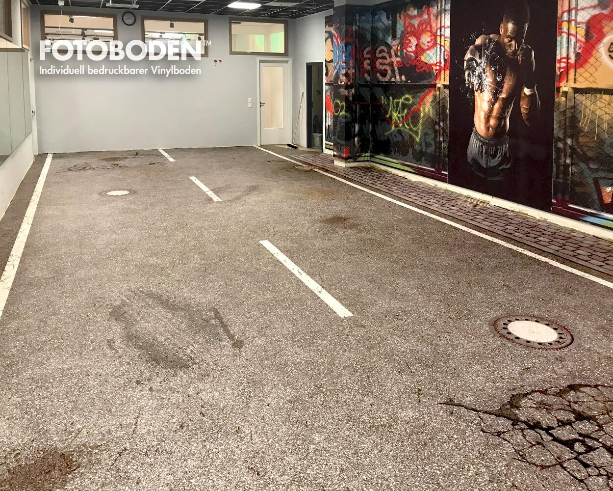 Straßenboden design mit Gullideckel