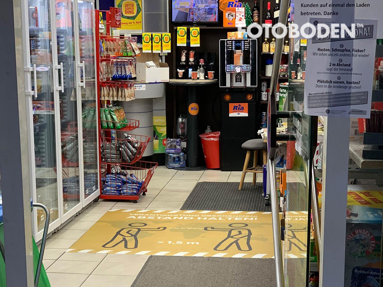 Kiosk bodenmatte abstand halten