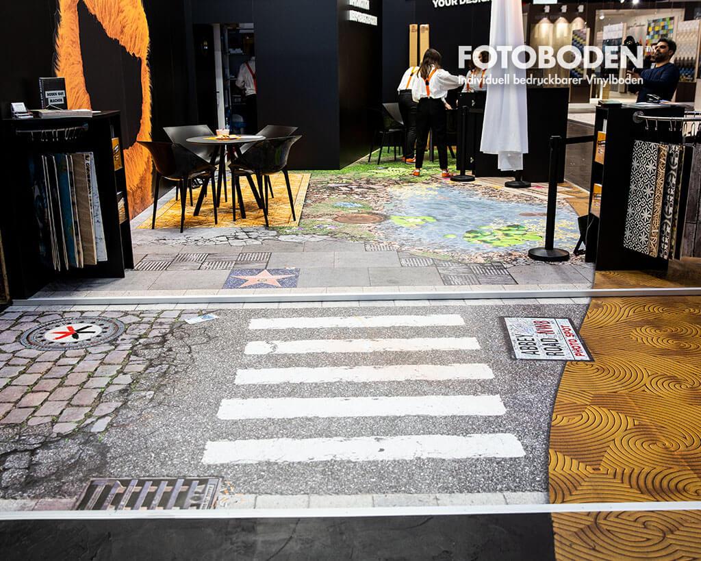 Bodendesign Asphaltboden mit Zebrastreifen