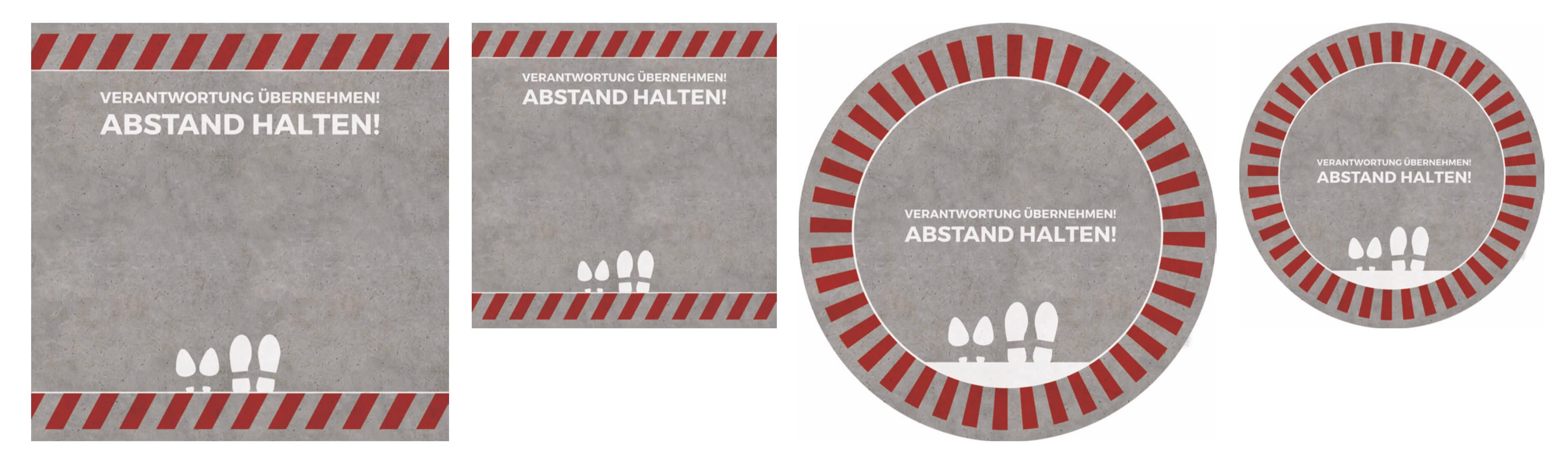 Bodenmatten Abstand halten Set