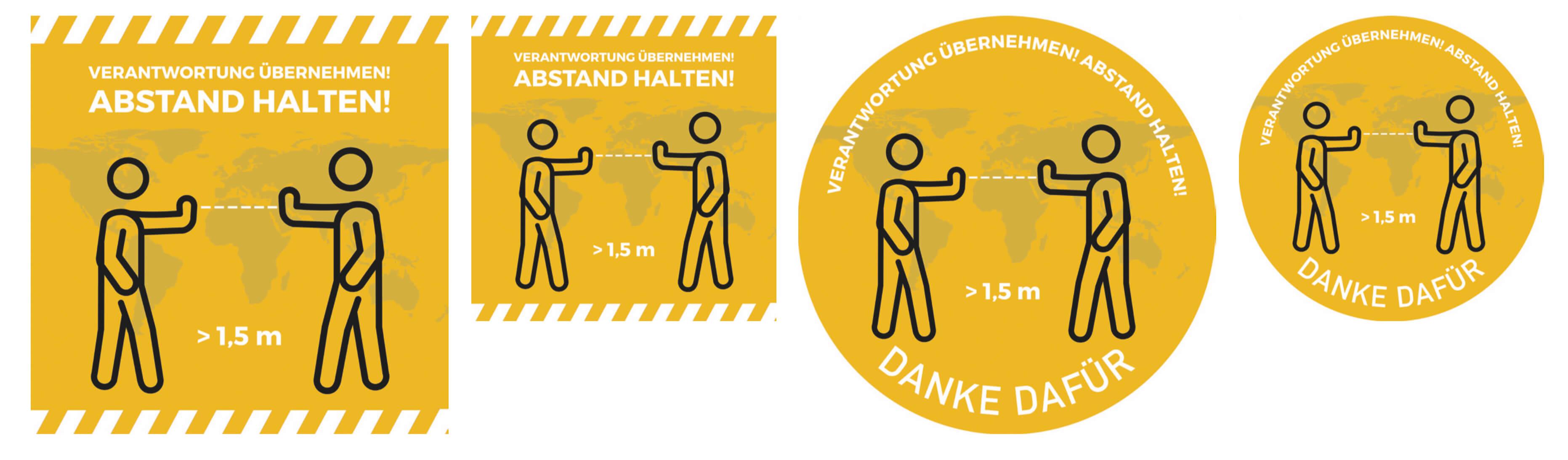 Abstand halten Bodenmatten Hinweis gelb